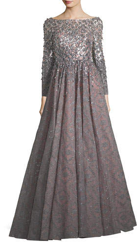 Jenny Packham Long-Sleeve Sequined Bonded Lace Full-Skirt Evening Gown