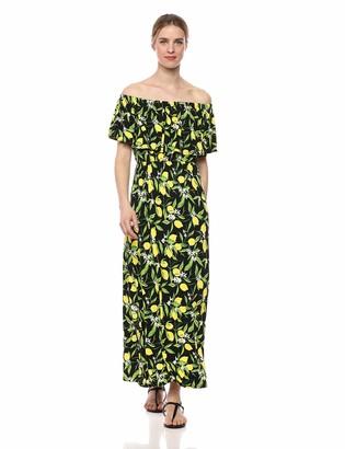 28 Palms Tropical Hawaiian Print Off Shoulder Maxi Dress Casual White Floral