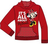 Disney Minnie Mouse 'Its All About Me' Girls Pullover Hoodie Sweater - Red White L