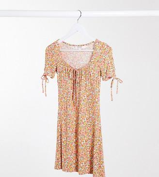 Miss Selfridge Petite ditsy mini dress in coral