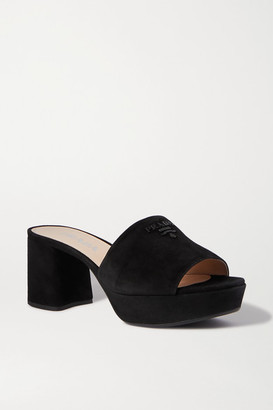 Prada Logo-embellished Suede Platform Mules - Black