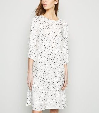 New Look Spot Tiered Smock Dress