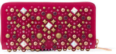 Christian Louboutin Panettone Embellished Patent-leather Continental Wallet - Bright pink