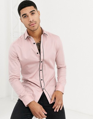 Asos Design DESIGN skinny fit sateen shirt with piping in dusty pink