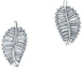 Anita Ko Leaf 18K White Gold & Diamond Palm Leaf Stud Earrings