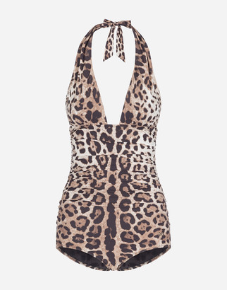Dolce & Gabbana One-Piece Swimsuit With Plunging Neckline And Leopard Print