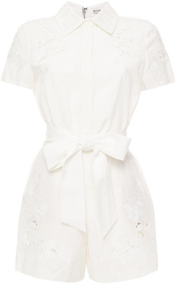 Alice + Olivia Lace-paneled Belted Twill Playsuit