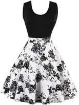 CZ Women Round Neck Sleeveless Print A-Line Swing Dress