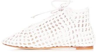 Francesco Russo Woven High Top Flat in White