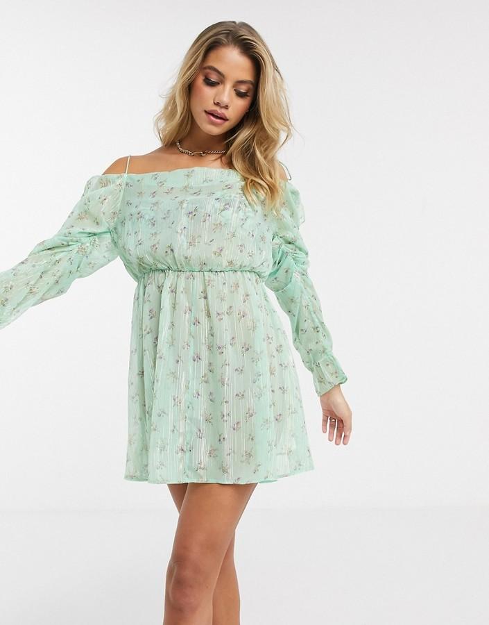 Asos DESIGN tie shoulder cowl neck chiffon beach dress in ditsy floral print