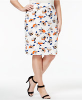 Nine West Plus Size Floral-Print Pencil Skirt