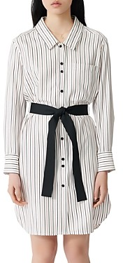 Maje Rayona Striped & Belted Shirt Dress