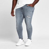 River Island Big and Tall mid blue Ollie spray on jeans