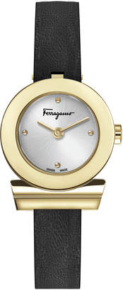 Salvatore Ferragamo 27mm Gancio Watch w/ Leather Strap, Black/Gold
