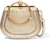 Chloé Nile Bracelet Small Metallic Textured-leather And Suede Shoulder Bag - Gold