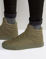 Asos High Top Sneakers In Khaki