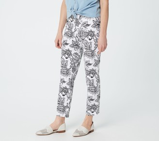 Denim & Co. Printed Twill Pull-On Ankle Length Pants with Side Slits
