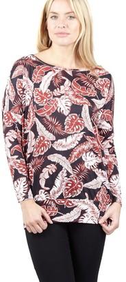 M&Co Izabel leaf print longline top