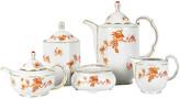 One Kings Lane Vintage Tea & Coffee Service Set - 9 Pcs - La Maison Supreme - white/orange