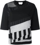DKNY panelled short sleeve T-shirt - women - Cotton/Modal/Silk - XS