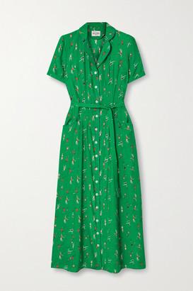 HVN Maria Belted Printed Silk Crepe De Chine Midi Dress - Green