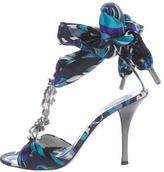 Emilio Pucci Embellished Satin Tie Sandal