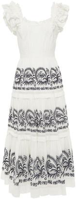 Ulla Johnson Julietta Lace-up Tiered Broderie Anglaise Cotton Midi Dress