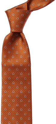 Salvatore Ferragamo Orange Gancio Silk Tie