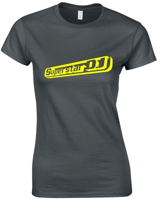 JLB Print Superstar DJ Cool Funky Music Fan Premium Quality Fitted T-Shirt Top for Women and Teens Charcoal