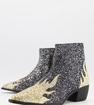 ASOS DESIGN Wide Fit cuban heel western chelsea boots in glitter with flame detail