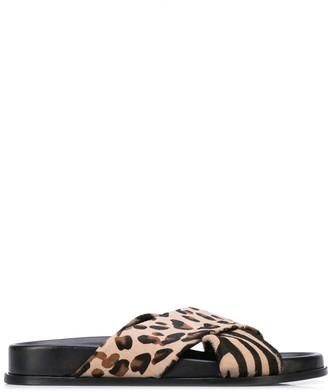 Anine Bing Leopard Crisscross Strap Sandals