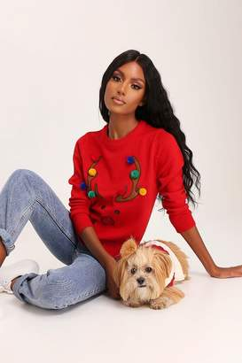 I SAW IT FIRST Red Christmas Reindeer Pom Pom Knitted Jumper