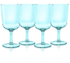 TarHong Simple Wine Glass, Aqua, 16 oz, Premium Plastic, Set of 6