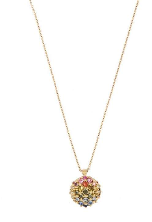 Dragon Optical Polly Wales Gold Snap Xl Rainbow Sapphire Dome Pendant Necklace