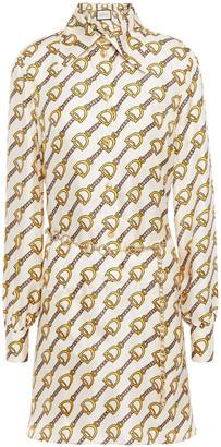 Gucci Belted Printed Silk-twill Mini Dress
