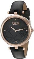 Burgi Women's BUR151BKR Rose Gold Quartz Watch With Black Diamond Dial And Black Leather Strap