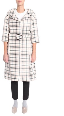 Carven Checked Belted Coat