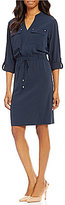 Jones New York Roll-Tab Sleeve Blouson Shirt Dress