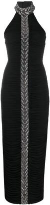 Balmain Rhinestone Embellished Halter Neck Dress