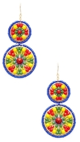 Miguel Ases Double Circle Beaded Statement Earrings