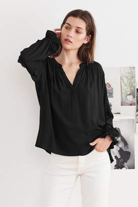 Velvet by Graham & Spencer MARLENA RAYON CHALLIS V-NECK BLOUSE