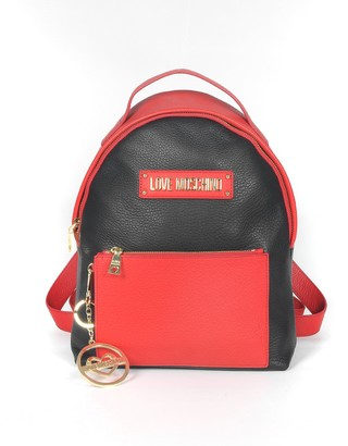 Love Moschino Black & Red Grainy Leather Signature Backpack