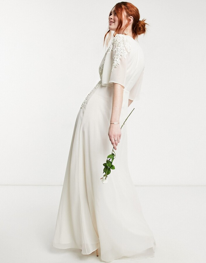 Thumbnail for your product : Hope & Ivy Bridal floral beaded and embellished maxi dress with plunge neck in ivory