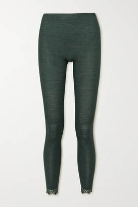 Hanro Woolen Lace-trimmed Ribbed Wool And Silk-blend Leggings - Dark green