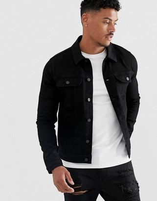 ASOS DESIGN skinny western denim jacket in black