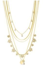 Kensie Rhinestone Multi Layered Flower Charm Necklace