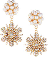 Fragments for Neiman Marcus Pearly & Pave Double-Flower Drop Earrings
