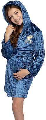 Intimo Girls' Sleep Robes - Harry Potter Blue Ravenclaw Velvet Hooded Robe - Girls