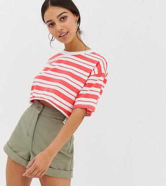 Asos DESIGN Petite super crop t-shirt with raw edge in stripe-Red