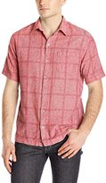 Van Heusen Men's Short Sleeve Windowpane Linen Cotton Shirt